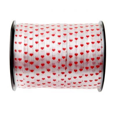 Bobine ruban bolduc blanc avec coeur rouge 7.5mm x 50m (x1) REF/3994