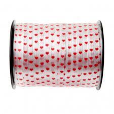 Bolduc blanc coeur rouge 7.5mm x 50m (x1) REF/3994