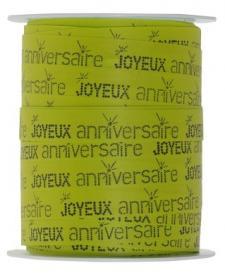 Bolduc joyeux anniversaire vert (x1) REF/5234