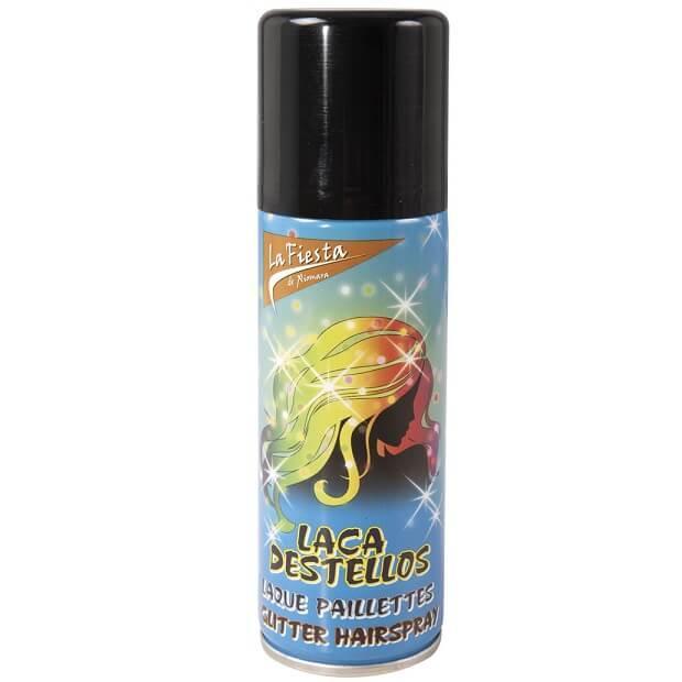 Bombe aerosol laque cheveux or avec paillettes