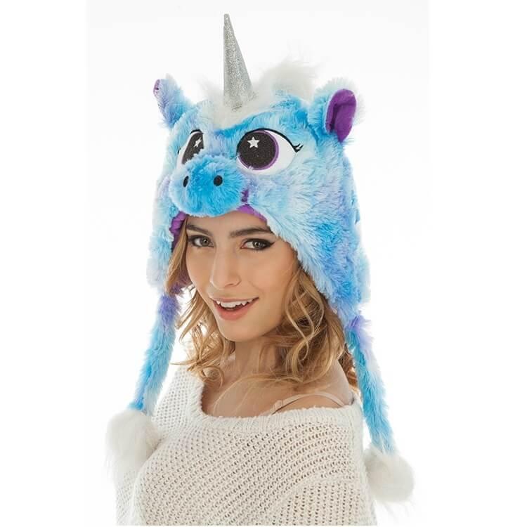Bonnet adulte licorne bleu turquoise