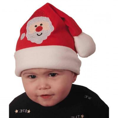 Bonnet Noël pour bébé rouge et blanc avec broderie père Noël (x1) REF/NEUN159