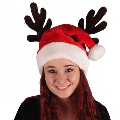 Bonnet de Noël adulte blanc et rouge avec cornes de Cerf (x1) REF/NUN111