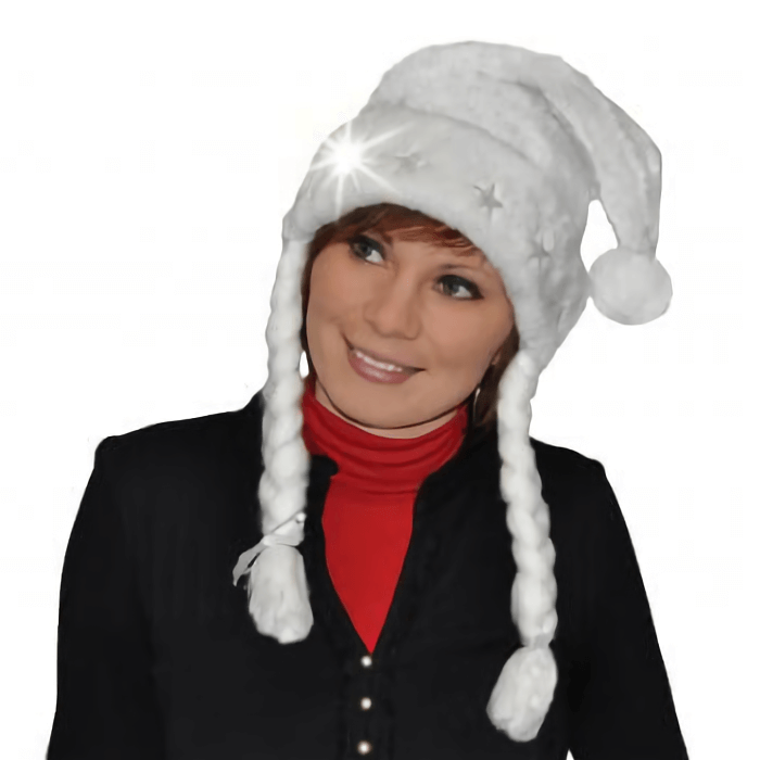 Bonnet de noel adulte blanc paillete et tresse