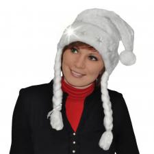 Bonnet de noël blanc lumineux, pailleté et tresse (x1) REF/NUD262L