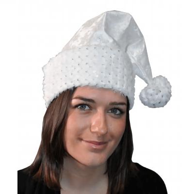 Bonnet de noël adulte blanc en satin et flocons brillants (x1) REF/N77192