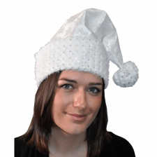 Bonnet de noël adulte blanc en satin et flocons brillants (x1) REF/N77192