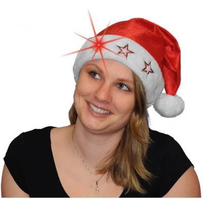 Bonnet de Noël adulte blanc et rouge avec étoiles lumineuses (x1) REF/N6130L