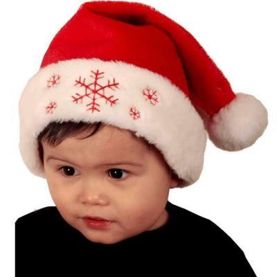 Bonnet Noël pour bébé rouge et blanc avec broderie flocon de neige (x1) REF/NEUH442