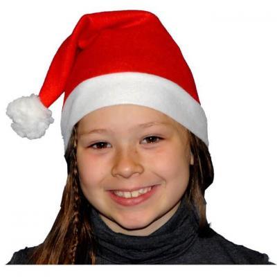 Bonnet de Noël enfant rouge et blanc avec pompon (x1) REF/NEUS239
