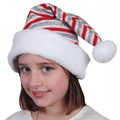 Bonnet de Noël pour enfant rouge, argent et blanc en maille (x1) REF/NEUN160
