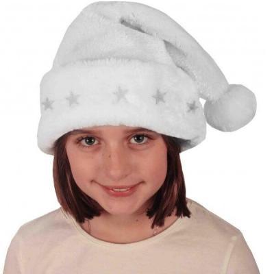 Bonnet de Noël enfant blanc lumineux avec étoiles (x1) REF/NEUH285L