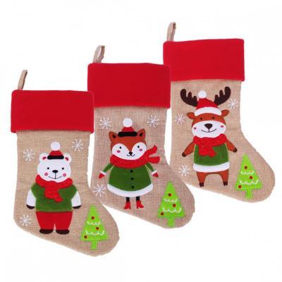 Botte de Noël 46cm avec style jute et avec animaux divers (x1) REF/NBDU203