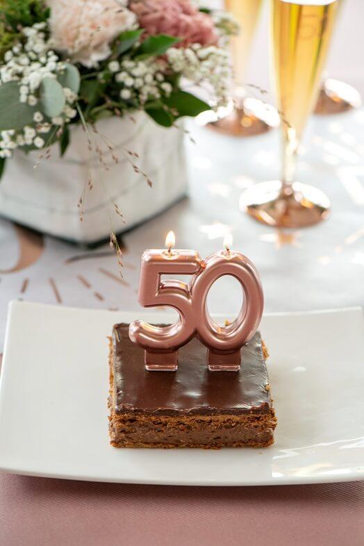 Bougie 50ans anniversaire rose gold deco gateau