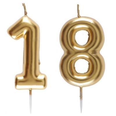 1 Pack bougie anniversaire 18 ans doré pour décoration gâteau anniversaire REF/6933