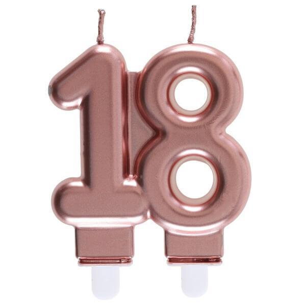 Bougie anniversaire 18 ans rose gold metallique pour deco gateau