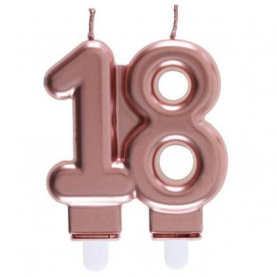Décoration gâteau anniversaire avec bougie 18 ans rose gold métallique (x1) REF/6932
