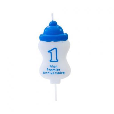 Bougie anniversaire 1an biberon bleu (x1) REF/BGA1400