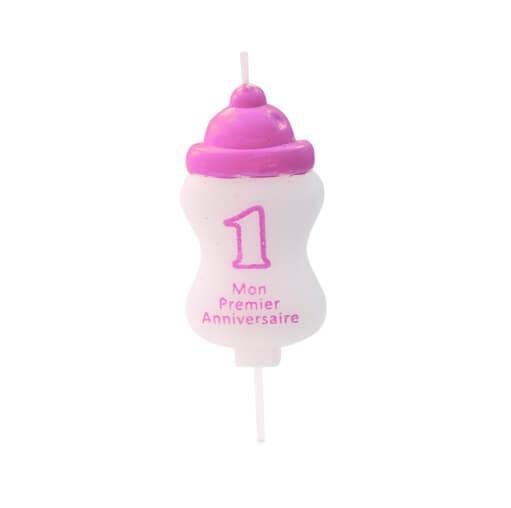 Bougie anniversaire 1an biberon rose