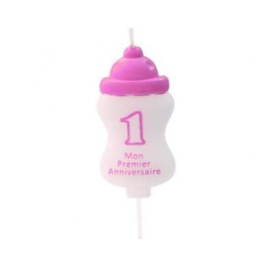 Bougie anniversaire 1an biberon rose (x1) REF/BGA1400