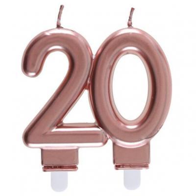 Décoration gâteau anniversaire avec bougie 20 ans rose gold métallique (x1) REF/6932