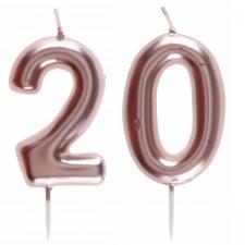 1 Pack bougie 20 ans pour gâteau anniversaire rose gold métallique sur pique REF/7305