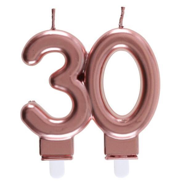 Bougie anniversaire 30 ans rose gold metallique pour deco gateau
