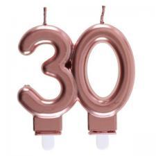 Décoration gâteau anniversaire avec bougie 30 ans rose gold métallique (x1) REF/6932