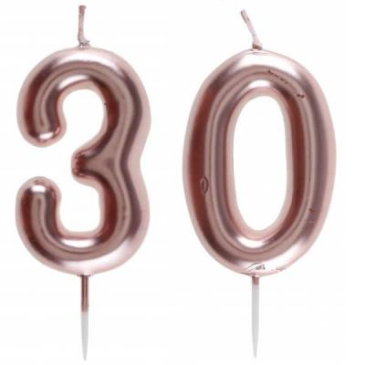1 Pack bougie 30 ans pour gâteau anniversaire rose gold métallique sur pique REF/7305