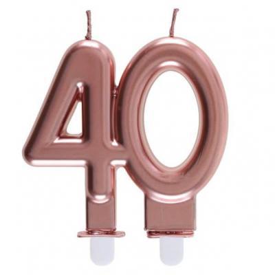 Décoration gâteau anniversaire avec bougie 40 ans rose gold métallique (x1) REF/6932