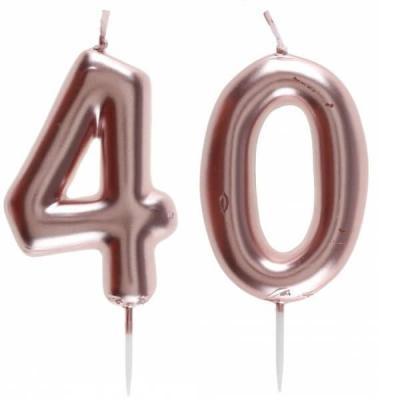 1 Pack bougie 40 ans pour gâteau anniversaire rose gold métallique sur pique REF/7305