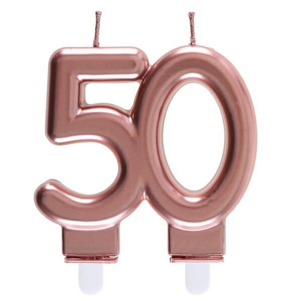 Bougie anniversaire 50 ans rose gold metallique pour deco gateau