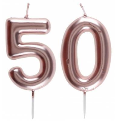 1 Pack bougie 50 ans pour gâteau anniversaire rose gold métallique sur pique REF/7305