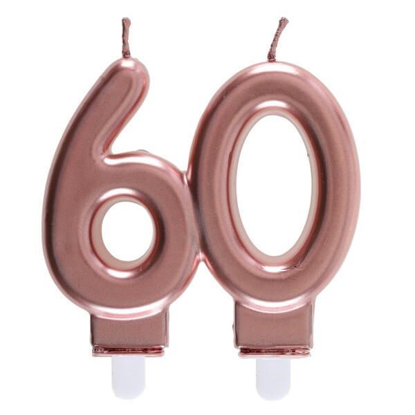 Bougie anniversaire 60 ans rose gold metallique pour deco gateau
