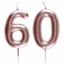 1 Pack bougie 60 ans pour gâteau anniversaire rose gold métallique sur pique REF/7305