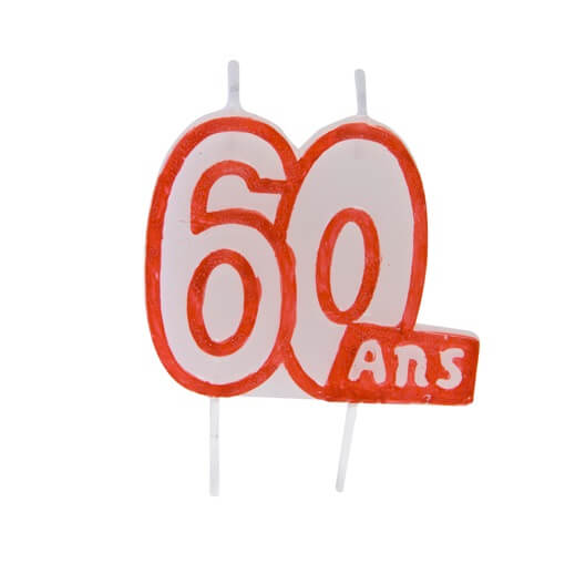 Bougie anniversaire 60ans 2