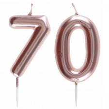 1 Pack bougie 70 ans pour gâteau anniversaire rose gold métallique sur pique REF/7305