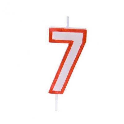 Bougie anniversaire rouge 7ans (x1) REF/BGA1200/7