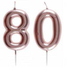 1 Pack bougie 80 ans pour gâteau anniversaire rose gold métallique sur pique REF/7305