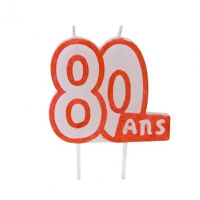 Bougie anniversaire 80ans (x1) REF/BGA1104/80