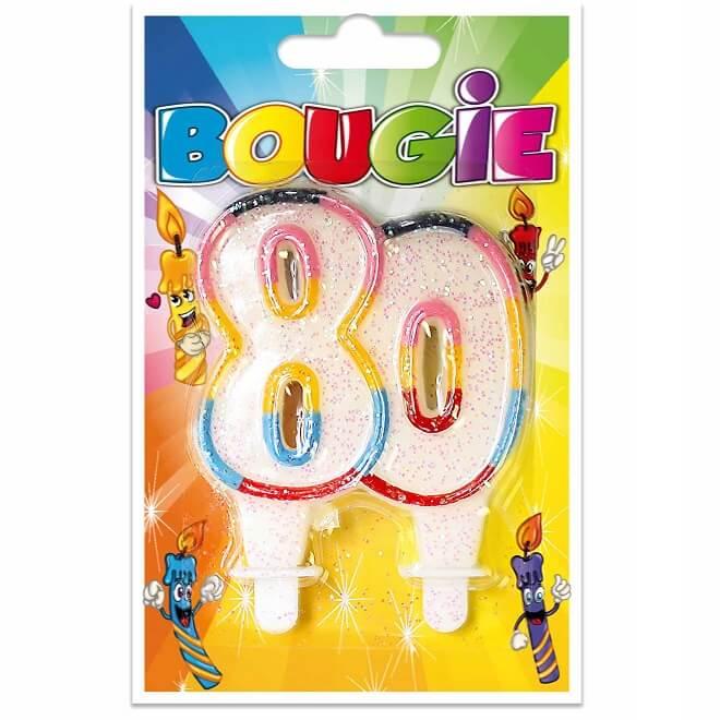 Bougie anniversaire 80ans pailletee et multicolore
