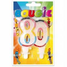 Bougie anniversaire pailletée, 80ans (x1) REF/BBA08