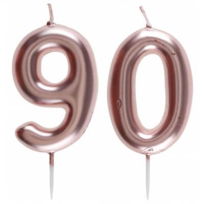1 Pack bougie 90 ans pour gâteau anniversaire rose gold métallique sur pique REF/7305