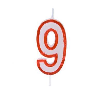 Bougie anniversaire rouge 9ans (x1) REF/BGA1200/9