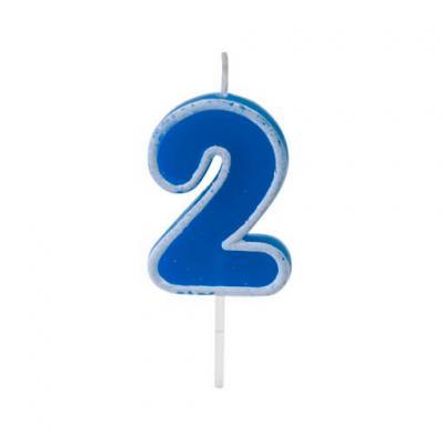 Bougie anniversaire bleu 2ans (x1) REF/BGA1401/2