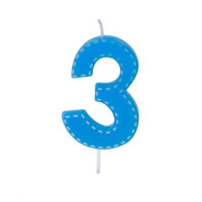 Bougie anniversaire bleue 3ans (x1) REF/BGA1201