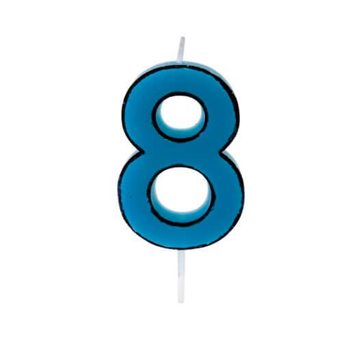 Bougie anniversaire bleue 8ans 1