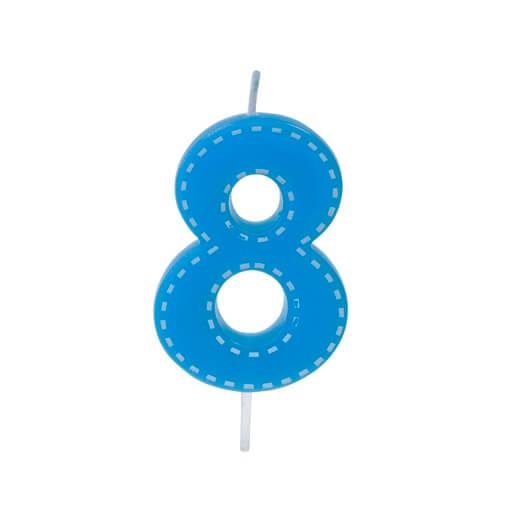 Bougie anniversaire bleue 8ans