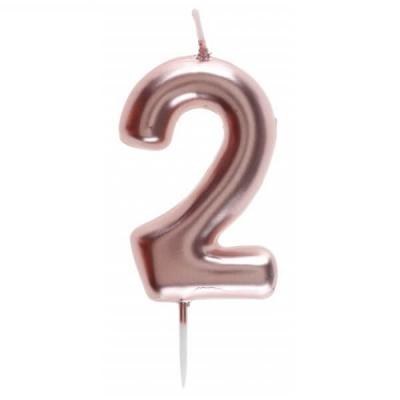 Bougie gâteau anniversaire rose gold chiffre 2 sur pique (x1) REF/7305