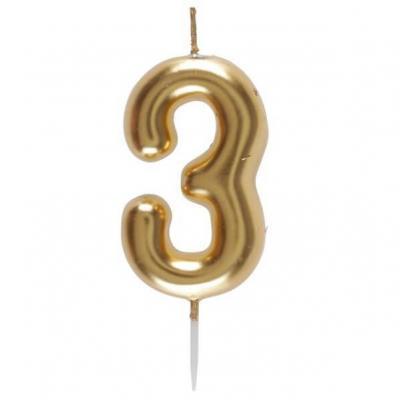 Bougie dorée avec chiffre 3 pour décoration gâteau anniversaire (x1) REF/6933
